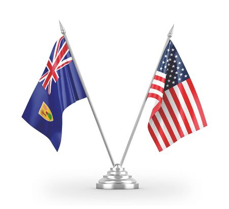 United States and Turks and Caicos Islands table flags isolated on white background 3D rendering 免版税图像