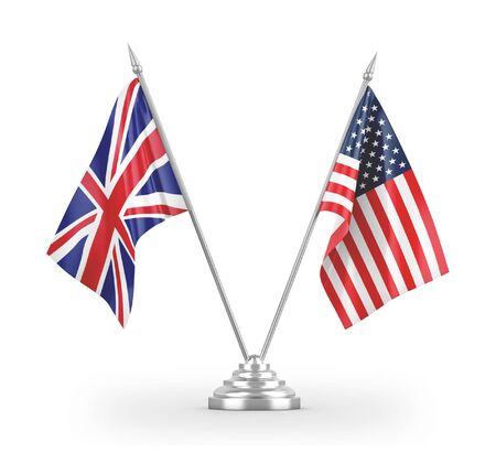 United States and United Kingdom table flags isolated on white background 3D rendering 免版税图像