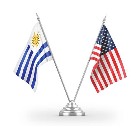 United States and Uruguay table flags isolated on white background 3D rendering 免版税图像