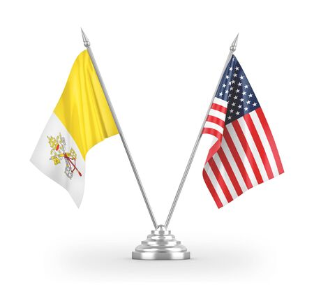 United States and Vatican table flags isolated on white background 3D rendering 免版税图像
