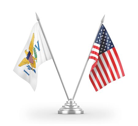 United States and Virgin Islands United States table flags isolated on white background 3D rendering 免版税图像