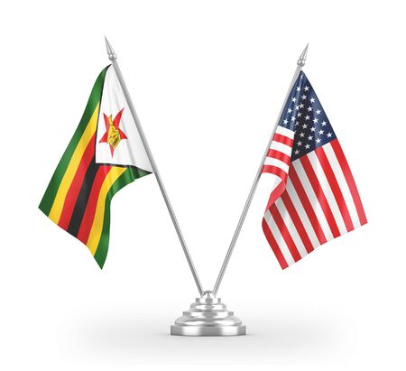 United States and Zimbabwe table flags isolated on white background 3D rendering 免版税图像