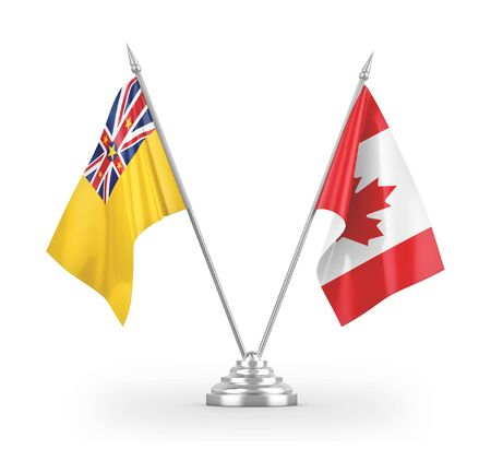 Canada and Niue table flags isolated on white background 3D rendering