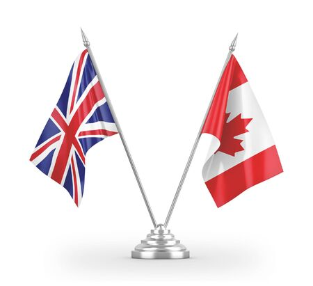 Canada and United Kingdom table flags isolated on white background 3D rendering 免版税图像