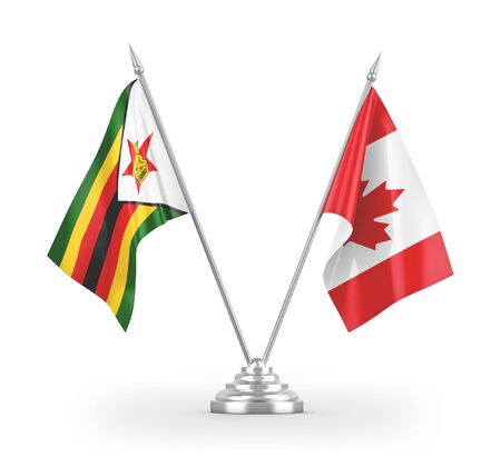 Canada and Zimbabwe table flags isolated on white background 3D rendering