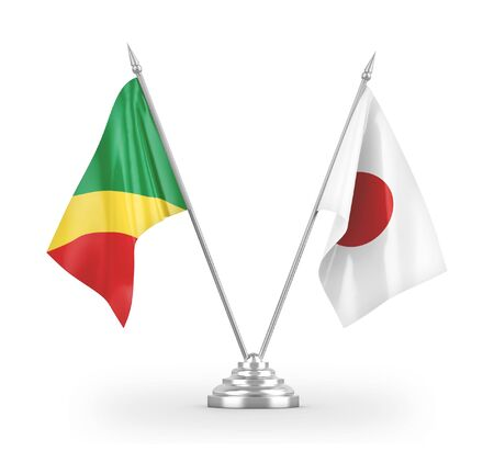 Japan and Congo table flags isolated on white background 3D rendering