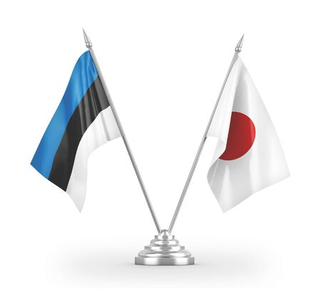 Japan and Estonia table flags isolated on white background 3D rendering