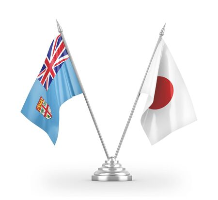Japan and Fiji table flags isolated on white background 3D rendering 免版税图像