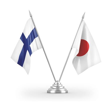 Japan and Finland table flags isolated on white background 3D rendering 免版税图像