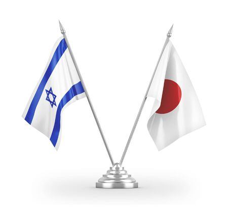 Japan and Israel table flags isolated on white background 3D rendering