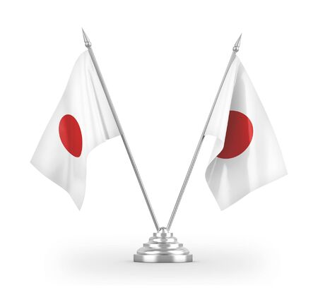 Japan table flags isolated on white background 3D rendering 免版税图像