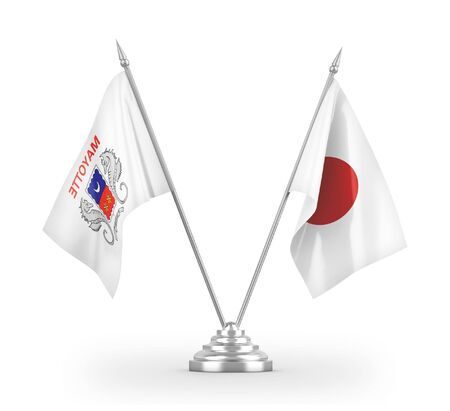 Japan and Mayotte table flags isolated on white background 3D rendering