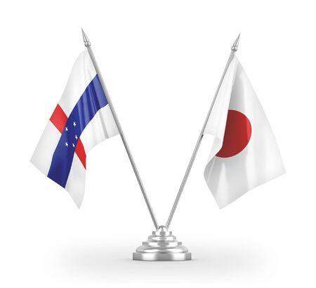 Japan and Netherlands Antilles table flags isolated on white background 3D rendering
