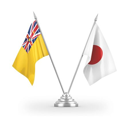 Japan and Niue table flags isolated on white background 3D rendering
