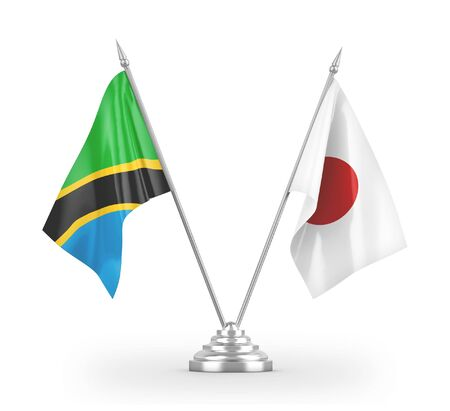 Japan and Tanzania table flags isolated on white background 3D rendering
