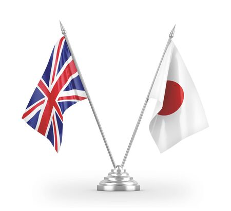 Japan and United Kingdom table flags isolated on white background 3D rendering