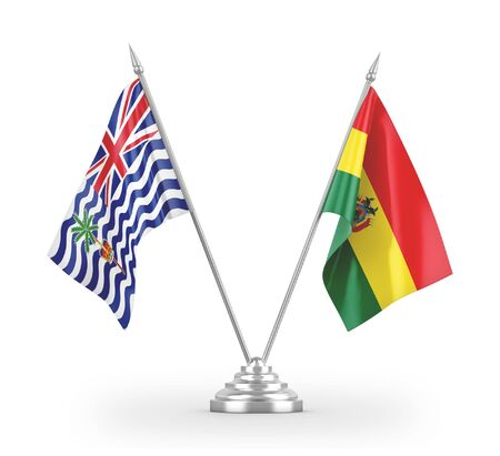 Bolivia and British Indian Territory table flags isolated on white background 3D rendering