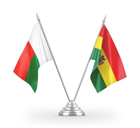 Bolivia and Madagascar table flags isolated on white background 3D rendering Фото со стока - 139741642