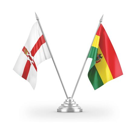 Bolivia and Northern Ireland table flags isolated on white background 3D rendering