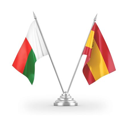 Spain and Madagascar table flags isolated on white background 3D rendering