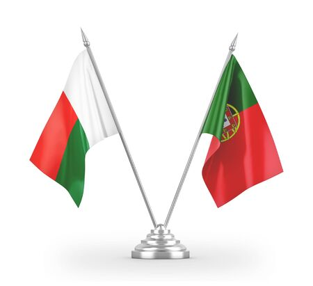 Portugal and Madagascar table flags isolated on white background 3D rendering