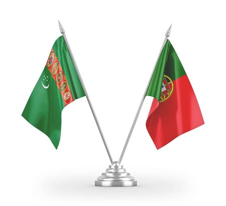 Portugal and Turkmenistan table flags isolated on white background 3D rendering