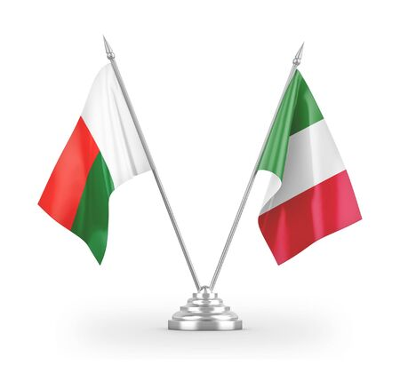 Italy and Madagascar table flags isolated on white background 3D rendering