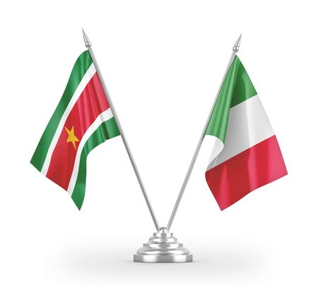 Italy and Suriname table flags isolated on white background 3D rendering