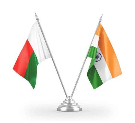 India and Madagascar table flags isolated on white background 3D rendering