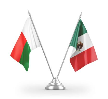 Mexico and Madagascar table flags isolated on white background 3D rendering