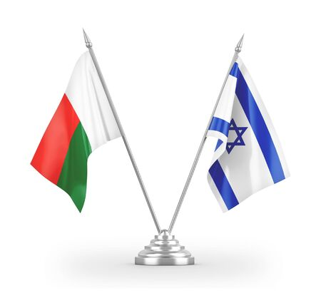 Israel and Madagascar table flags isolated on white background 3D rendering