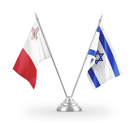 Israel and Malta table flags isolated on white background 3D rendering
