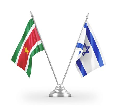 Israel and Suriname table flags isolated on white background 3D rendering Stockfoto