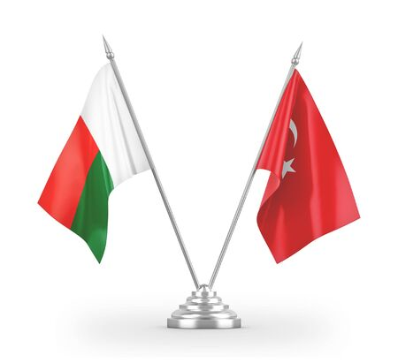 Turkey and Madagascar table flags isolated on white background 3D rendering