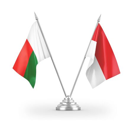Indonesia and Madagascar table flags isolated on white background 3D rendering