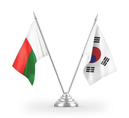 South Korea and Madagascar table flags isolated on white background 3D rendering Фото со стока