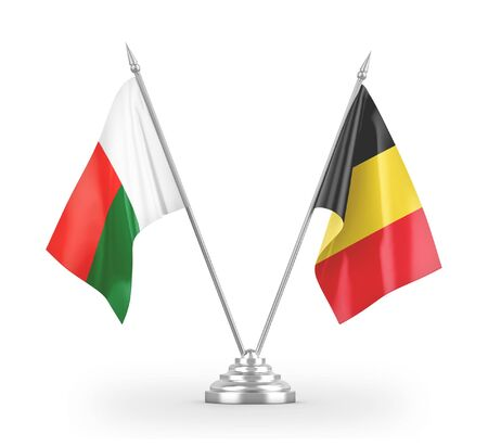 Belgium and Madagascar table flags isolated on white background 3D rendering