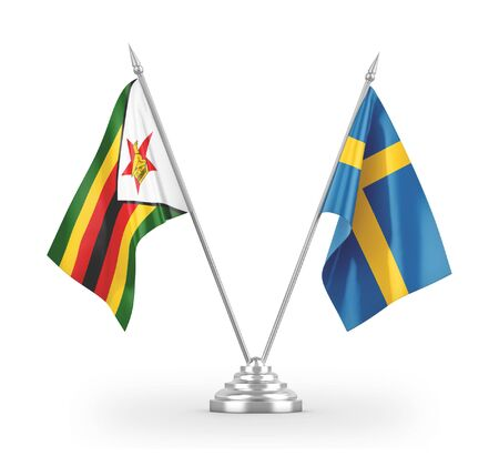 Sweden and Zimbabwe table flags isolated on white background 3D rendering Stock fotó