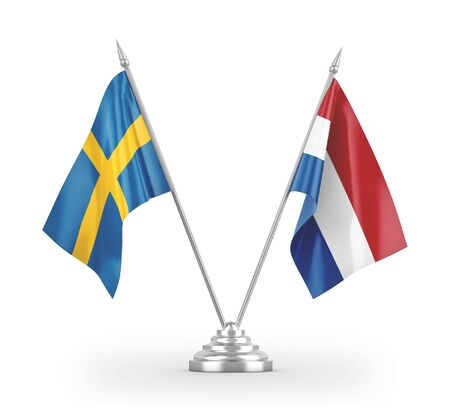 Netherlands and Sweden table flags isolated on white background 3D rendering