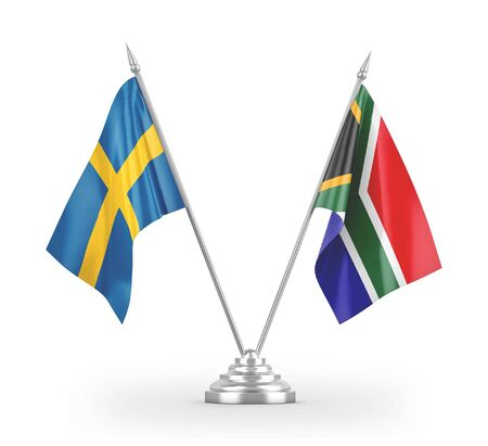 South Africa and Sweden table flags isolated on white background 3D rendering
