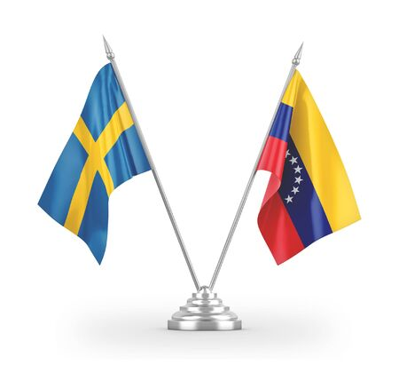 Venezuela and Sweden table flags isolated on white background 3D rendering