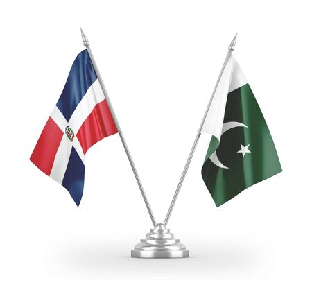 Pakistan and Dominican Republic table flags isolated on white background 3D rendering Фото со стока
