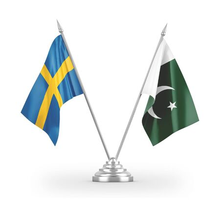 Pakistan and Sweden table flags isolated on white background 3D rendering