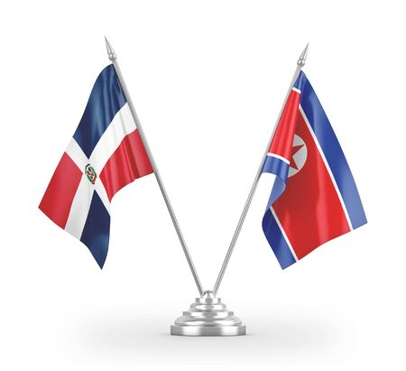 North Korea and Dominican Republic table flags isolated on white background 3D rendering