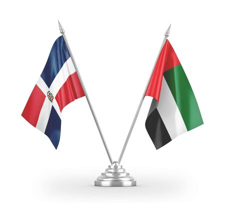 United Arab Emirates and Dominican Republic table flags isolated on white background 3D rendering