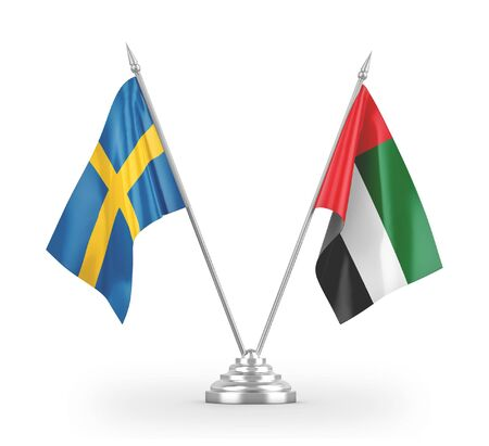 United Arab Emirates and Sweden table flags isolated on white background 3D rendering