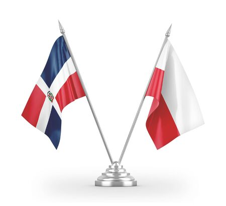 Poland and Dominican Republic table flags isolated on white background 3D rendering Фото со стока
