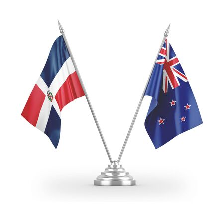 New Zealand and Dominican Republic table flags isolated on white background 3D rendering Фото со стока