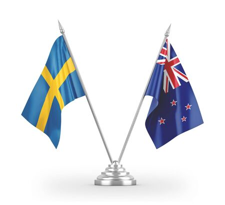 New Zealand and Sweden table flags isolated on white background 3D rendering