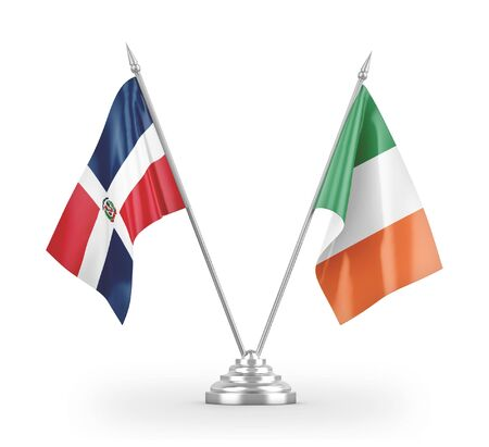 Ireland and Dominican Republic table flags isolated on white background 3D rendering Фото со стока